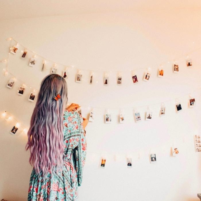 comment faire une deco lumineuse pour sa chambre ado, modèle de guirlande avec lampes LED décorée de photos