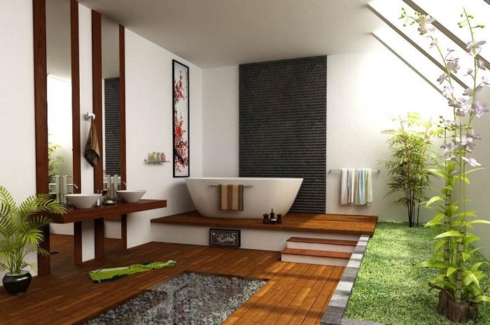 décoration intérieure de style asiatique, quelles couleur pour décorer une salle de bain nature en blanc et bois avec accents verts