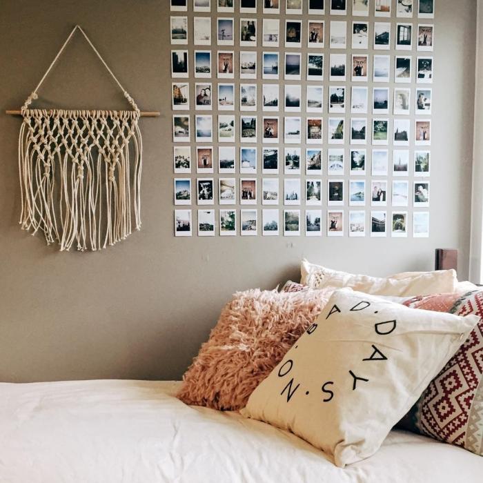 diy déco chambre bohème avec suspension murale en nœuds macramé et mur de photos polaroids, projet créatif facile avec photo