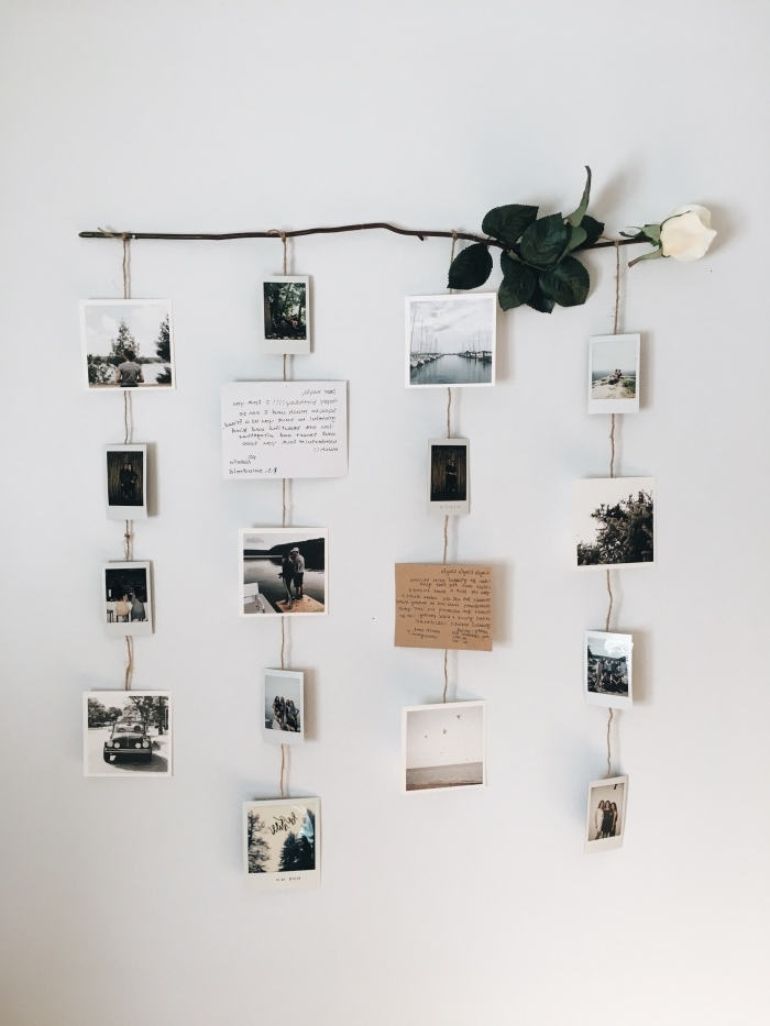 diy accroche photo facile à réaliser, exemple de suspension murale DIY à faire avec une rose et ficelle décorée de photos