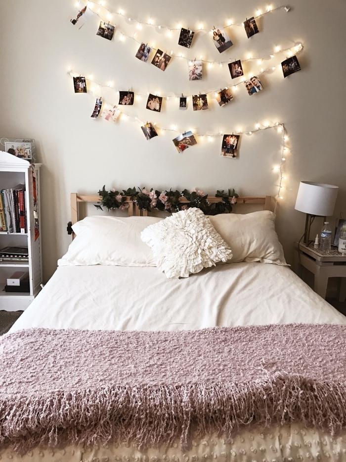 exemple comment customiser une guirlande lumineuse boule avec ses photos, décoration de chambre cocooning DIY