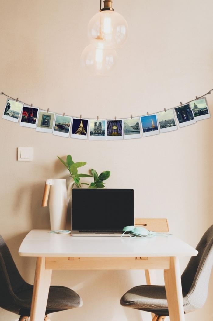 comment décorer son bureau à domicile, exemple de guirlande photo facile à faire avec photos imprimées et pinces bois