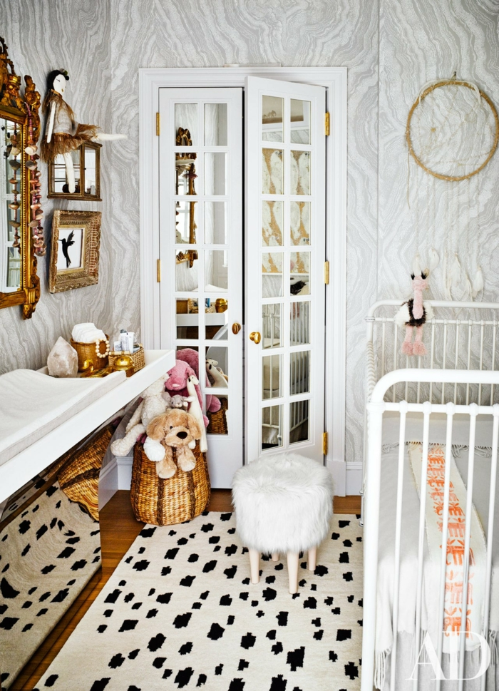 Marbre mur lit blanche en barres decoration chambre fille, inspiration en images couleur chambre fille