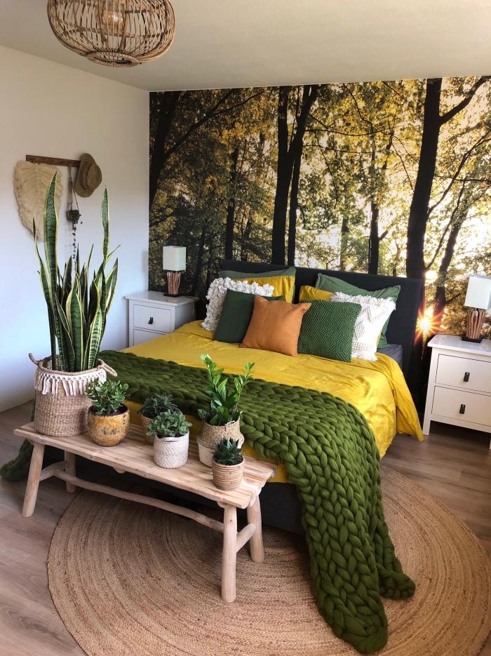décoration murale chambre boho moderne, idée de revêtement mural pour chambre jungalow avec papier peint paysage nature