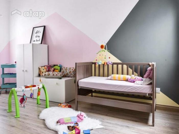 Peinture bicolore rose et gris idée déco chambre bébé, idée peinture chambre fille décorer soi meme