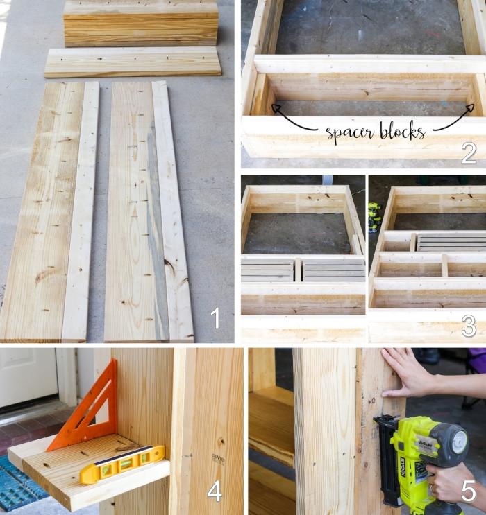 les étapes à suivre pour fabriquer un meuble en palette soi-même, bricolage bibliothèque rectangulaire en palettes récupérées