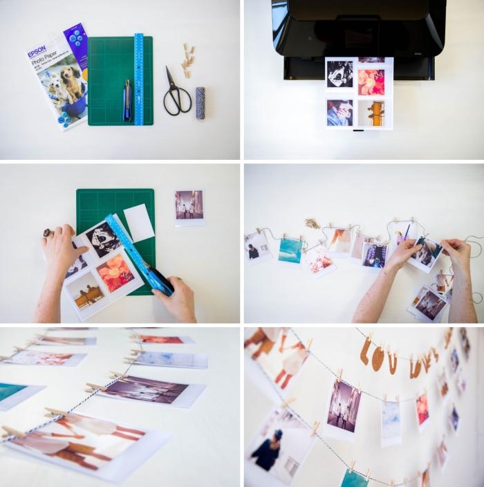 étapes à suivre pour créer une guirlande avec polaroid facile et rapide, idée de deco photo pour une chambre à coucher