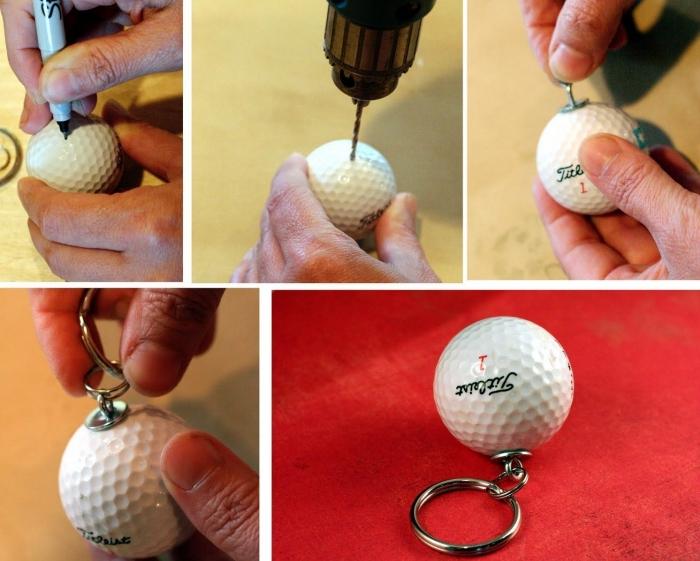 bricolage fête des pères facile, les étapes à suivre pour confectionner un porte-clé original papa avec balle de golf