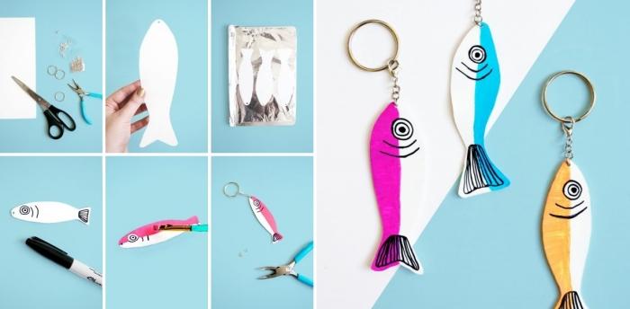 bricolage fête des pères pour tout petit, exemple comment réaliser un porte-clé pour papa pêcher avec poisson en feuille créative