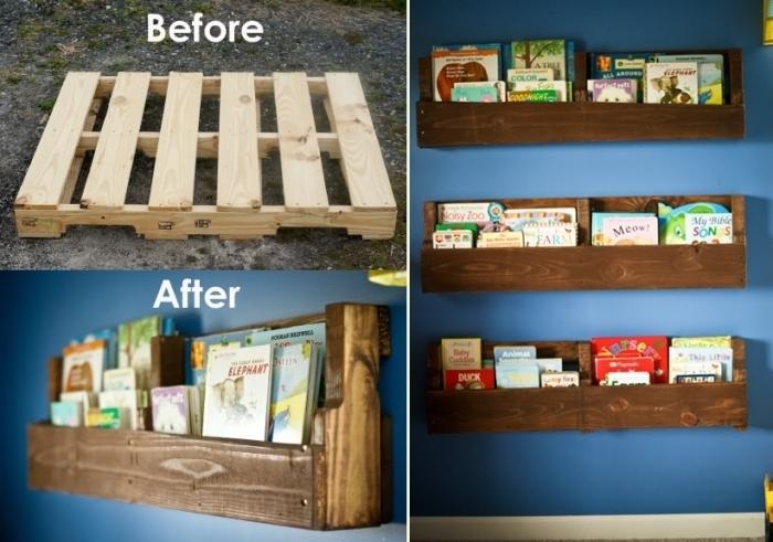 idée que faire avec des palettes, modèle de meuble de rangement murale facile à bricoler avec meubles recyclés, diy étagère en palette repeinte