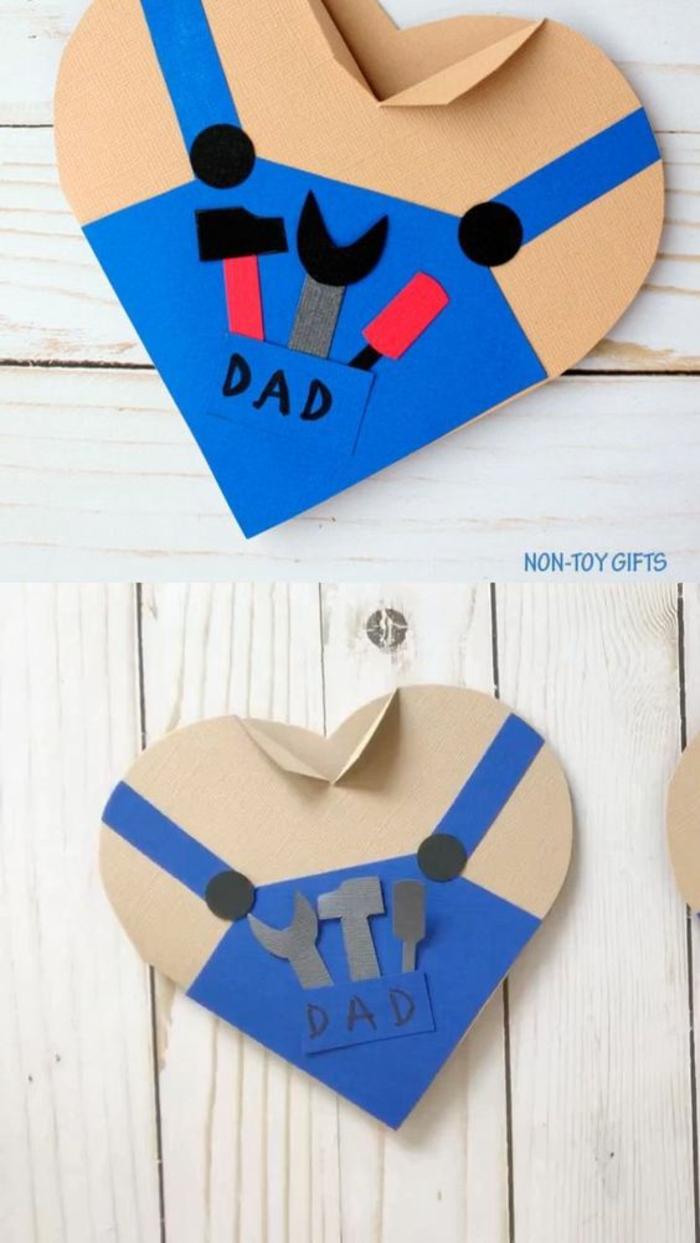 Carte forme de coeur cadeau fête des pères fait par bébé idée bricolage pour la fete des peres
