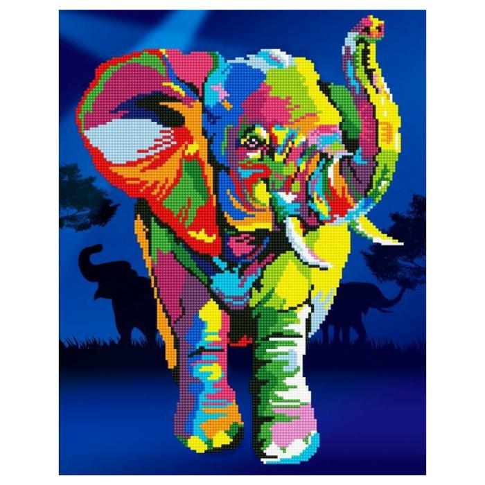 Éléphant peinture diamant, cool idée perle diamant a coller choses necessaires choisir les couleurs et le fond