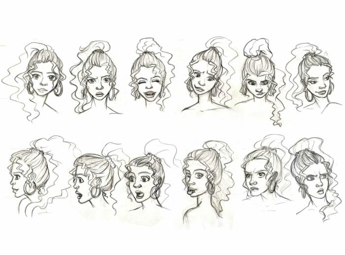 Visage grimaces fille cheveux bouclés, comment faire un dessin triste, inspiration dessin facile fille émotions