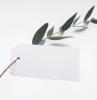 accrochage étiquettage produits cadeaux diy message amour soin étiquette papier blanc cartonné branches feuilles vertes