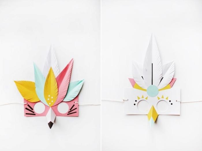 activité manuelle primaire, comment faire des masques de carnaval en forme tête d'oiseaux avec papier coloré et colle