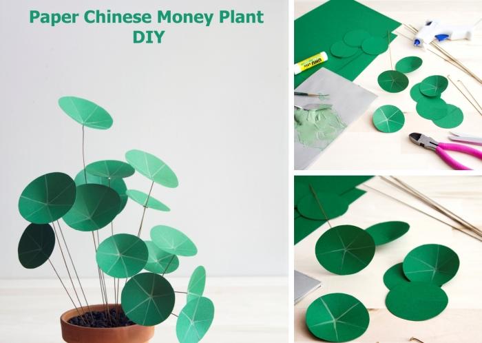 faire une plante en papier originale, activité manuelle printemps facile et rapide, diy plante à monnaie chinoise en papier vert