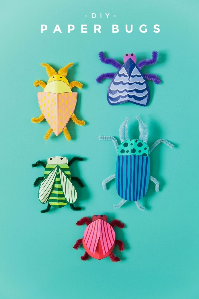 modèles d'insectes faciles à réaliser en papier coloré avec les petits, activité enfant 3 ans, diy insectes fait maison avec les enfants