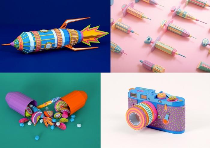 diy créations en papier coloré, idée d'activité manuelle pour grands et petits, modèles d'objets réalisés avec papier scrapbooking