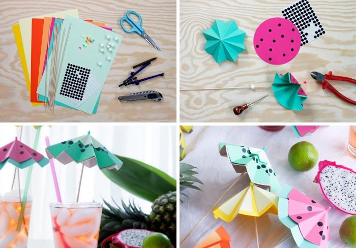 exemples comment servir cocktails avec parasol fait maison en papier scrapbooking, idée d'activité manuelle ado facile