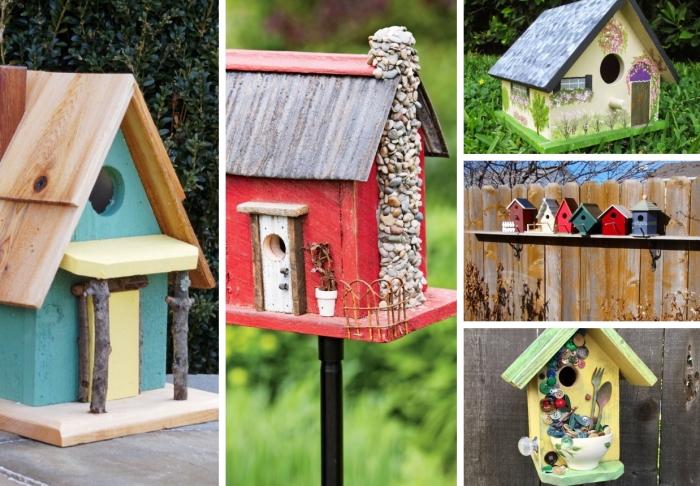modèles de DIY mangeoire pour oiseaux fabriquée avec planches de bois, exemple de maison rouge sur pied noir pour jardin