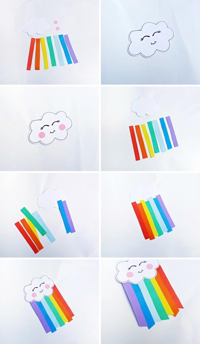 étapes à suivre pour créer forme de nuage et arc-en-ciel avec bandes de papier coloré, idée d'activité manuelle enfant