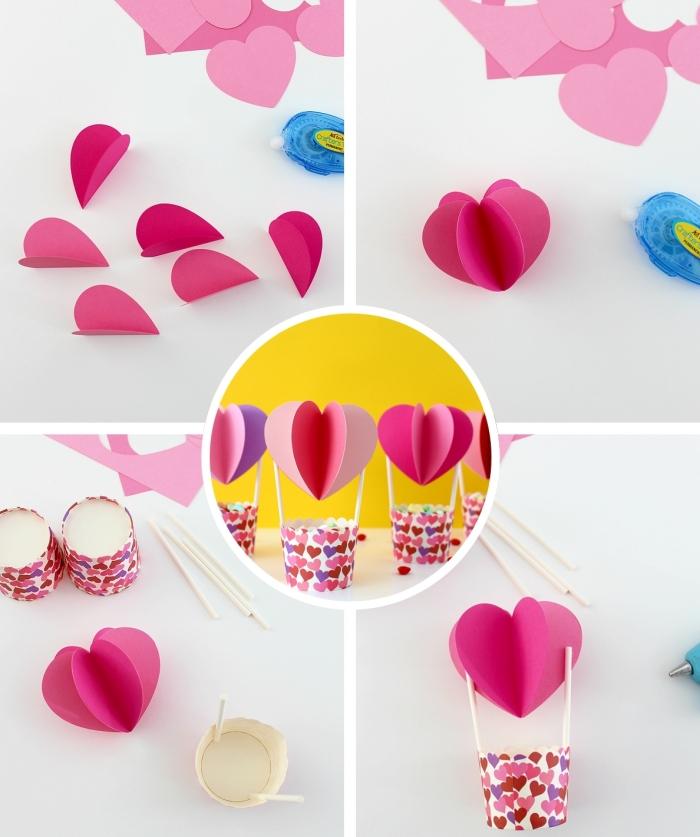 modèle de ballon à gaz en papier scrapbooking avec décoration en petits cœurs, idée d'activité manuelle enfant facile