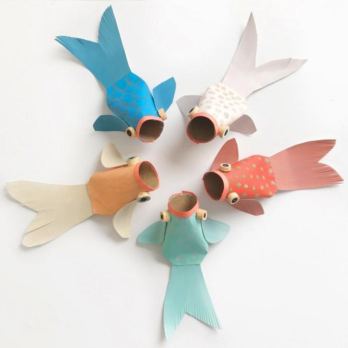 comment faire des poissons faciles en papier, idée d'activité manuelle enfant, bricolage simple avec peu de matériel pour petits