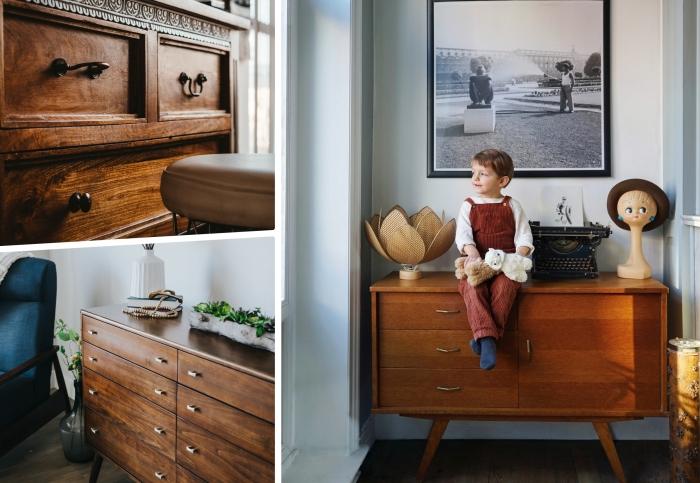 aménagement chambre à coucher d enfant meuble bois chaise bleu marine