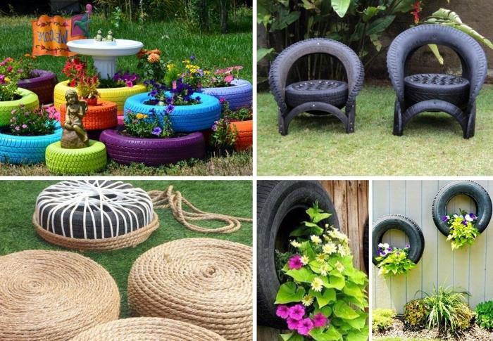 projets de bricolage facile avec matériaux de récupération, idée de deco pneu pour extérieur, diy meubles de jardin en pneus recyclés