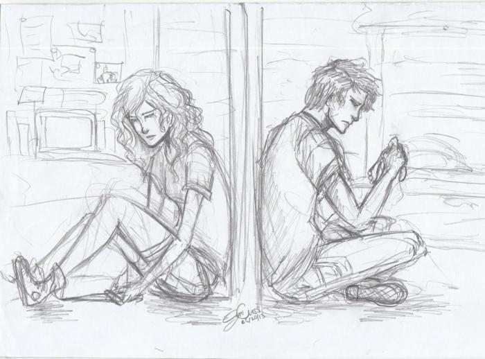 Amour impossible dessin triste facile, art émouvant idée dessin la beauté triste émotion couple