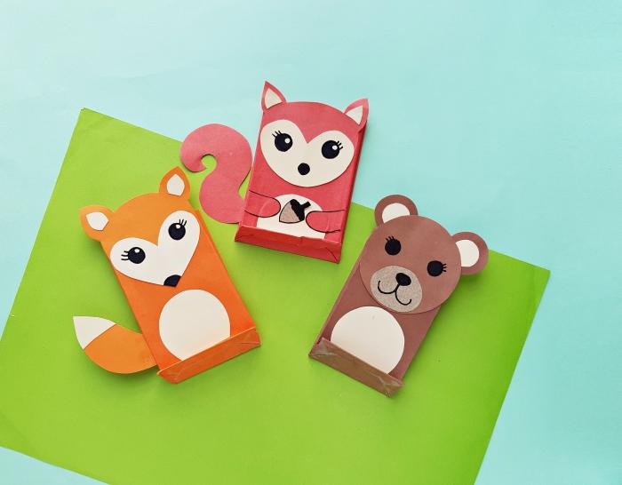 activités manuelles maternelle, comment faire des animaux en papier scrapbooking facile avec les enfants, diy marques-pages enfant