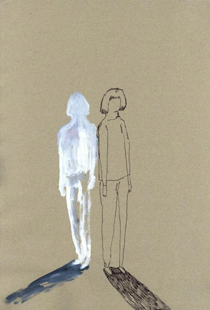 Fille et son ombre triste dessin crayon, original dessin facile fille, dessin triste facile a reproduire