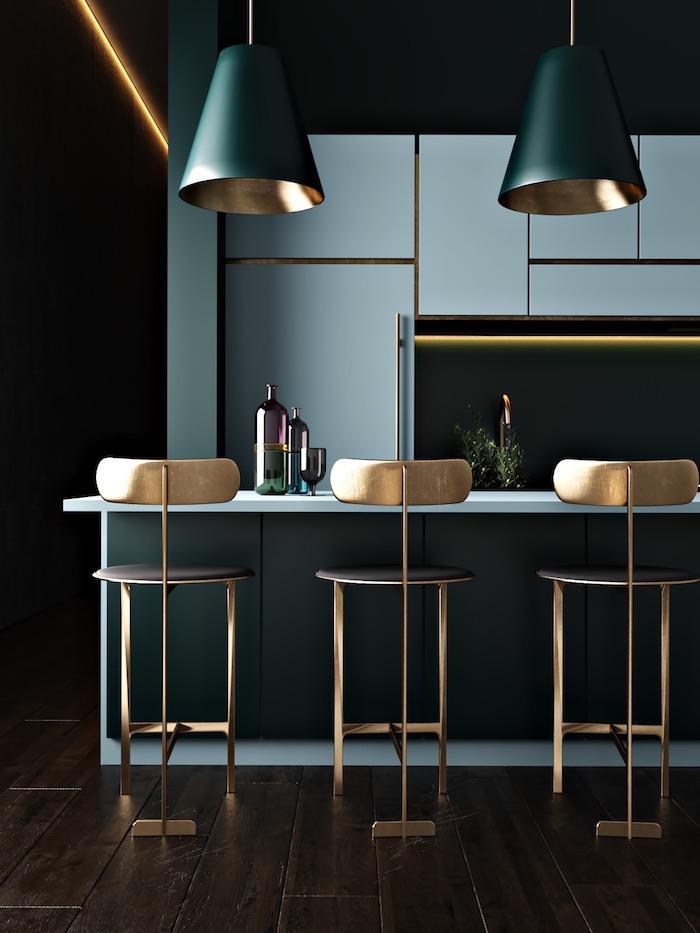 Belle cuisine moderne sombre couleur peinture cuisine, quelles sont les couleurs qui vont ensemble