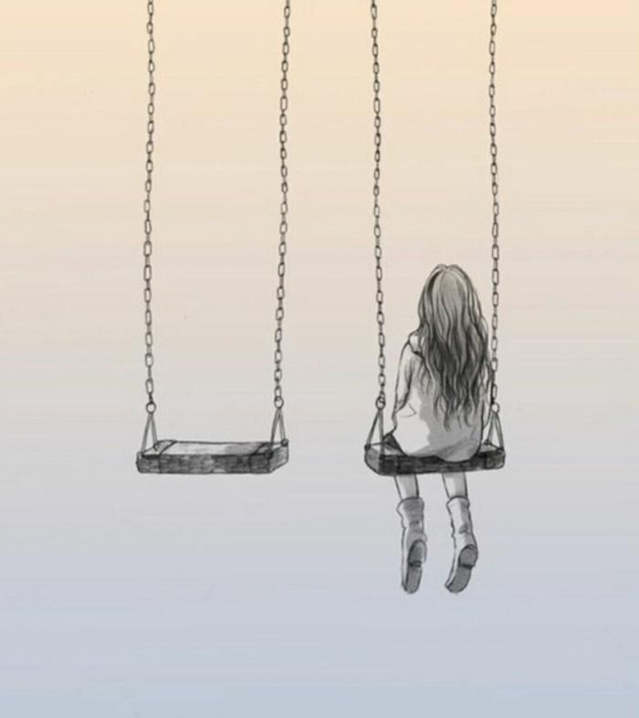 Balançoire non occupé et fille triste dessin femme triste, dessin dépression, idée de dessin fille émotions