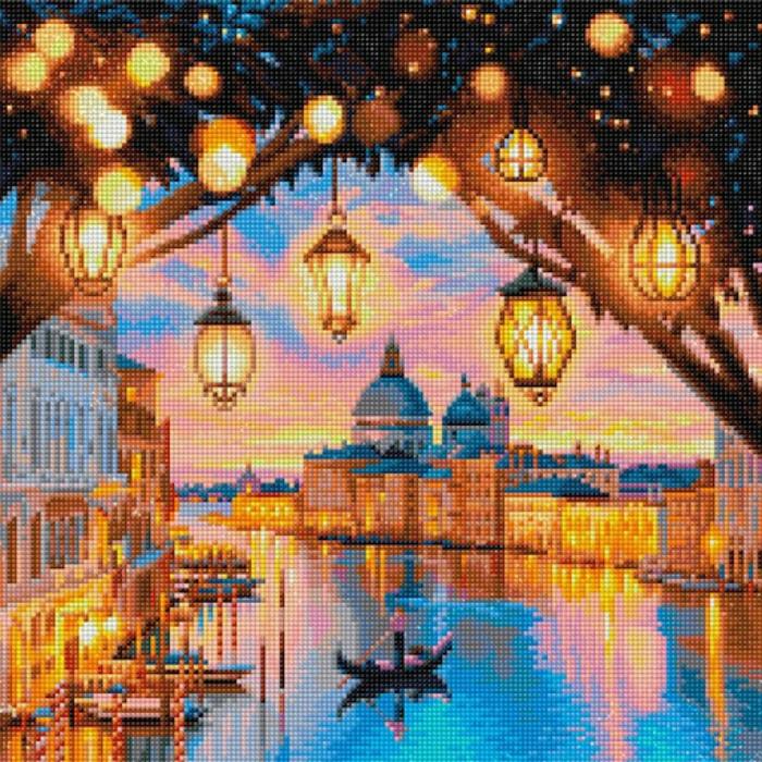 Venice canal sous les lumières des lanternes, canevas diamant, broderie diamant modernes peintures pas a pas