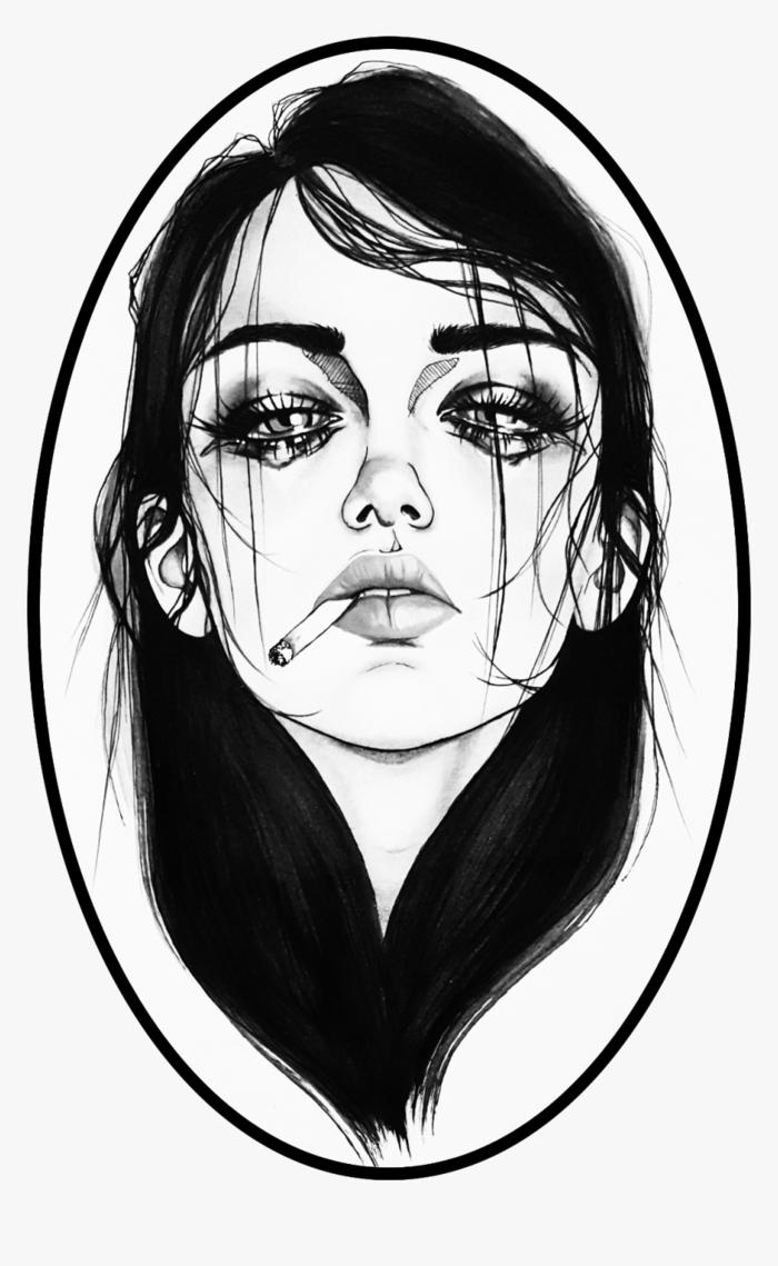 Portrait de femme pleurant démaquillée, dessin triste amour, dessin fille triste, inspiration dessin facile a reproduire