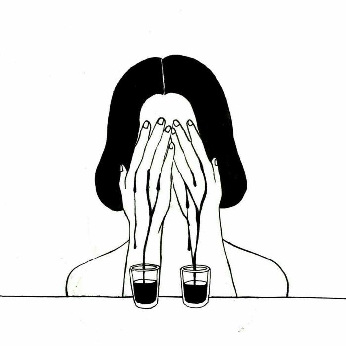 Larmes sang personnage triste, dessin triste facile, visage dessin, apprendre à dessiner, shot verres
