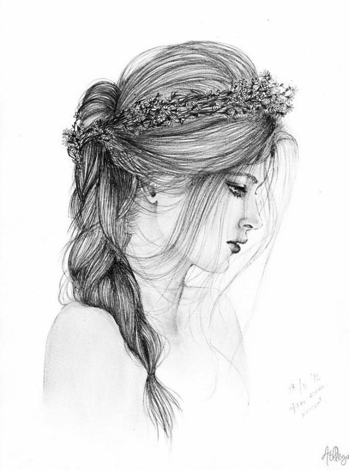 Portrait de belle fille cheveux longs dessin noir et blanc triste, dessin fille triste, dessin facile a faire pour débutant