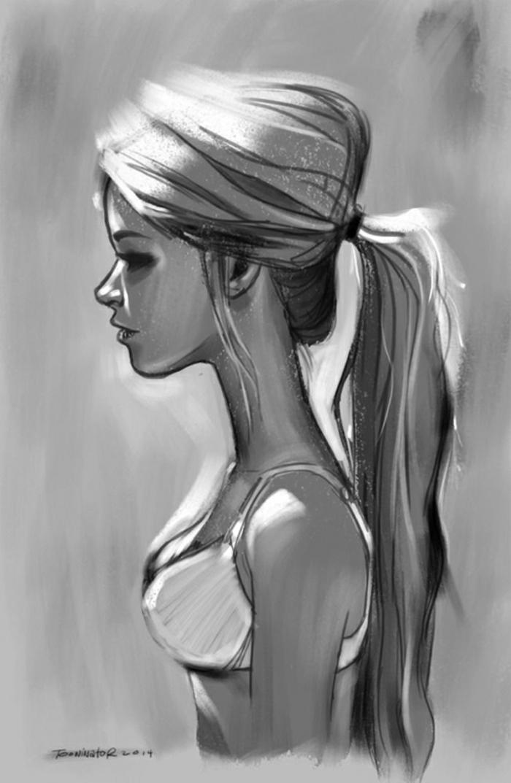 Beauté dessin triste de fille facile a reproduire, comment apprendre à dessiner femme originale idée