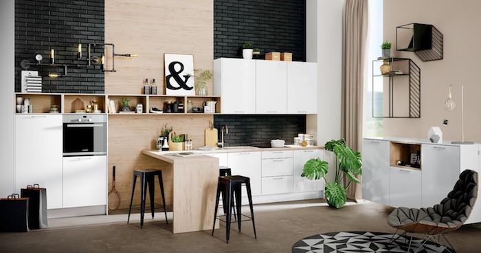 Blanc et bois cuisine briques noirs et chaises pour accent association de couleur, tendance cuisine 2020 inspiration déco