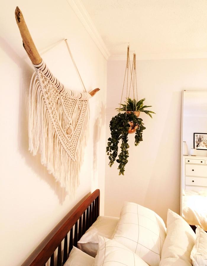 bois flotté corde cotton macramé suspension murale noeud macramé tete de lit fait maison plante suspendue macramé pot fleur doré
