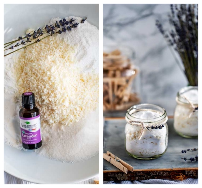 borax cristaux de soude bicarbonate de soude savon de castille et huile essentielle de lavande pour faire lessive maison recette simple