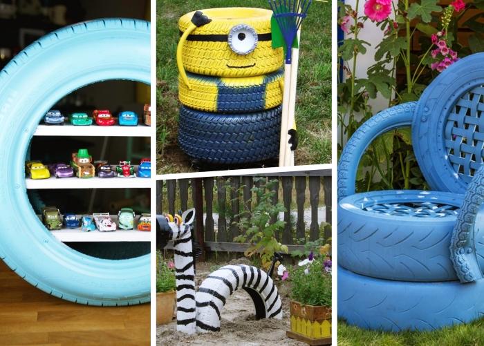 idées comment décorer son jardin avec créations en matériaux recyclés, modèles de jardinières originales fait maison avec pneus