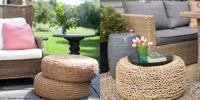 déco jardin recup facile à faire, modèles d'ottoman DIY en pneu couvert de corde, design extérieur avec meubles fait maison