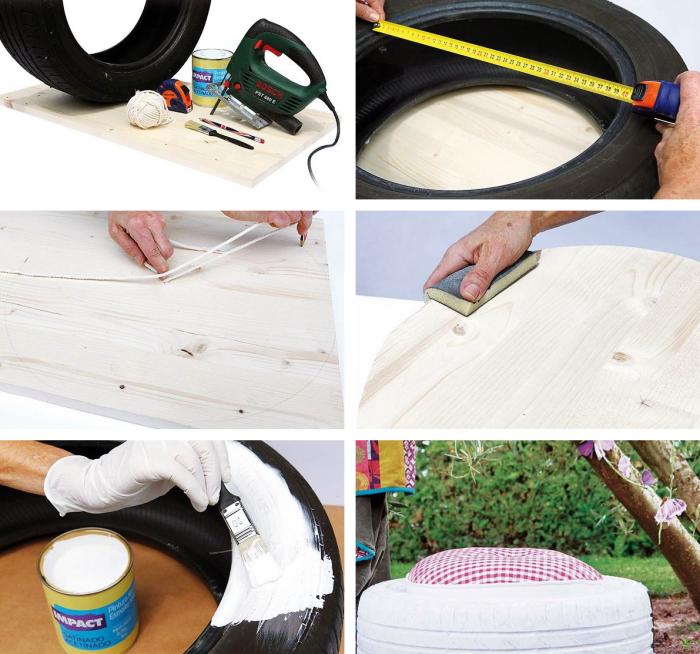 projets de recyclage caoutchouc facile, comment faire ses meubles avec matériaux de récupération, modèle d'assisse en pneu