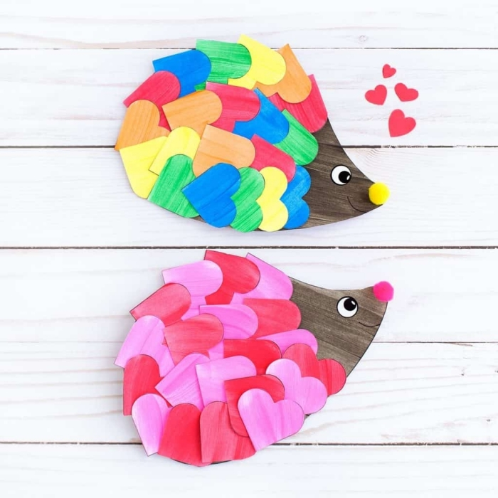 activité manuelle primaire, modèles de formes d'animaux faciles à créer avec du papier blanc et peintures de couleurs différentes