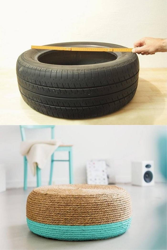 modèle d'ottoman tendance facile à faire soi-même avec pneu et corde, tutoriel de recyclage caoutchouc facile et économique
