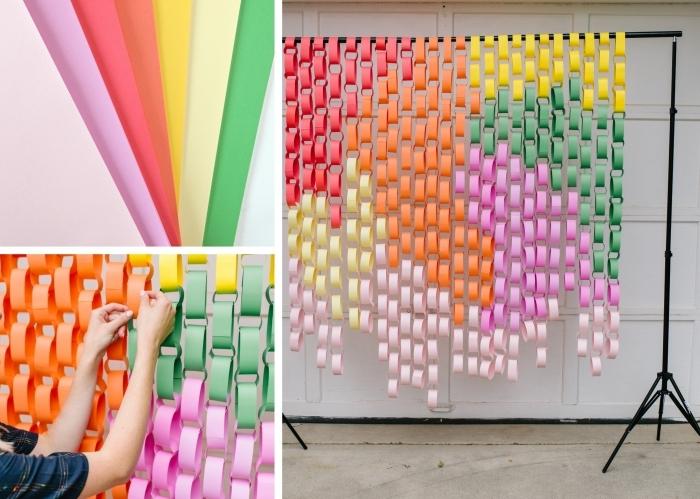 activité manuelle ado, comment faire des rideaux en papier originaux, tuto création mur en guirlandes de papier coloré