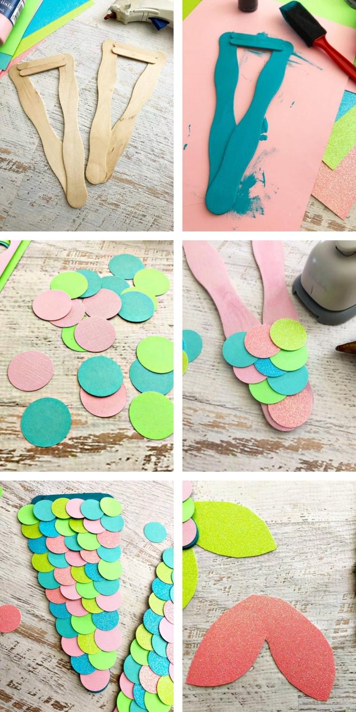 activités manuelles maternelle, étapes à suivre pour faire une queue de sirène en papier glitter, idée création en papier originale