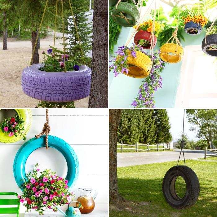 idée déco recup facile à faire avec pneus recyclés, modèle de jardinière suspendue en pneu peint en violet avec corde